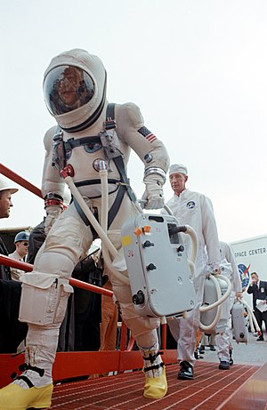 Gemini 7 - Lovell before the launch, in the special G5C space suit, which had a zippered hood with a visor instead of a solid helmet.