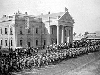 Loyal Regiment (North Lancashire) - Loyal North Lancashires marching in Kimberly.