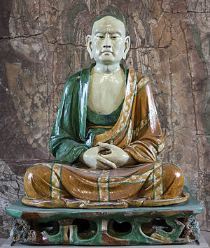 Arhat - Seated Luohan from Yixian, around 1000, one of a famous Group of glazed pottery luohans from Yixian