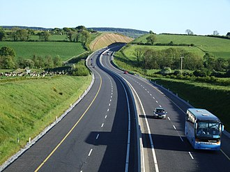 M8 motorway (Ireland) - The M8 tolled section approaching its southern terminus near Watergrasshill.