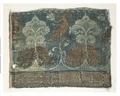 MCC-8441 Blauw weefsel met motief van blauw-witte bomen, gouden leeuwen en fonghoangs (1).tif