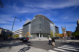 MIT Media Lab - The new Media Lab expansion (Building E14). Original Wiesner Building (E15) is visible at left.