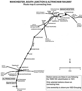 Manchester, South Junction and Altrincham Railway - Image: MSJAR map