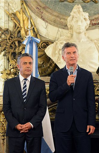 Mendoza Province - Governor Alfredo Cornejo (left) and president Mauricio Macri (right).