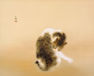Nihonga - Madaraneko (斑猫, Tabby Cat) by Takeuchi Seihō, Important Cultural Property (1924)