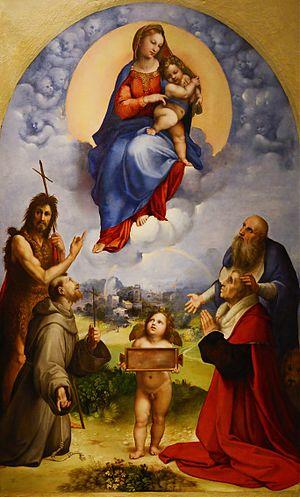 Madonna of Foligno - Image: Madonna di Foligno (Raphael) September 2015 1a