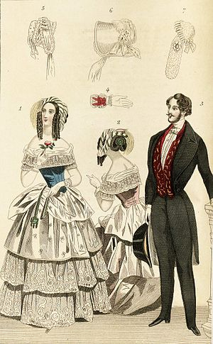 Victorian fashion - 1844 fashion plate depicting fashionable clothing for men and women, including illustrations of a glove and bonnets