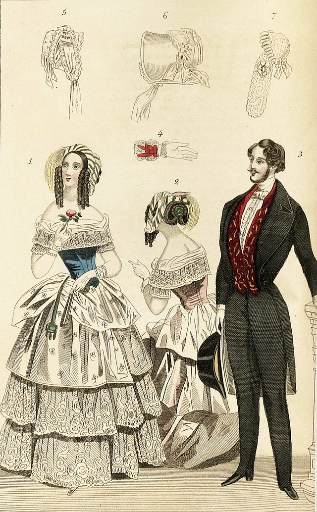 1844 Fashion Plate Depicting Fashionable Clothing For Men And Women Including Illustrations Of A Glove Bonnets