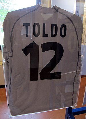 Francesco Toldo - Toldo's Euro 2000 Italy jersey located in the Football Museum in Florence