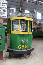 The tram from the film Malcolm, at the Tramway Museum Society of Victoria's site (Melbourne Tramway Museum) in Bylands, Victoria.
