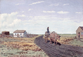 Manitoba Settler's House and Red River Cart.png