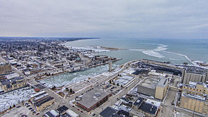 Manitowoc, Wisconsin - The Manitowoc River empties into Lake Michigan.