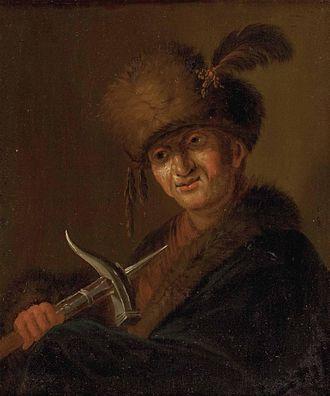 Lucerne hammer - Man with Lucerne hammer, 18th century.