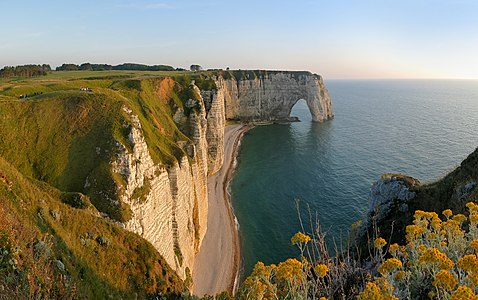 Cliffs of Étretat with natural arch Manneporte