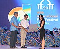 Manohar Parrikar and Actor Nana Patekar presenting the Silver Peacock award for Best Actor (Female) to Ms. Sarit Larry from Israel for the movie The Kindergarten Teacher.jpg