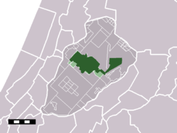 The town of Hoofddorp in the municipality of Haarlemmermeer. On this map, airport Schiphol is included in Hoofddorp (to the east of the town).
