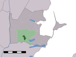 The town centre (darkgreen) and the statistical district (lightgreen) of Broek in Waterland in the municipality of Waterland.