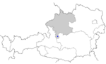 Map of Austria, position of Obertraun highlighted