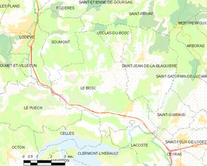 Le Bosc, Hérault - Map