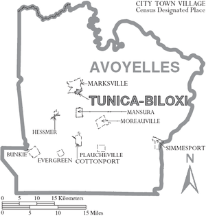 Avoyelles Parish, Louisiana - Map of Avoyelles Parish with municipal labels