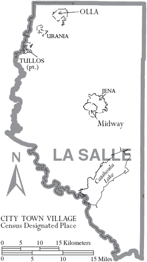 LaSalle Parish, Louisiana - Map of LaSalle Parish, with municipal labels