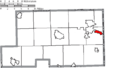 Map of Mahoning County Ohio Highlighting Lowellville Village.png