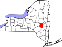 Map of New York highlighting Schoharie County