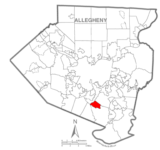 Map of Pleasant Hills, Allegheny County, Pennsylvania Highlighted
