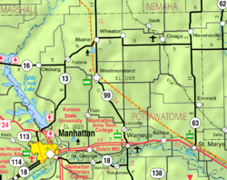 KDOT map of Pottawatomie County (legend)