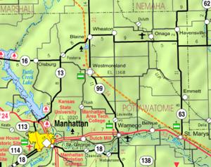 Wamego, Kansas - Image: Map of Pottawatomie Co, Ks, USA