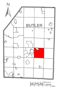 Map of Butler County, Pennsylvania highlighting Summit Township