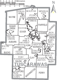 Map of Tuscarawas County Ohio With Municipal and Township Labels.PNG