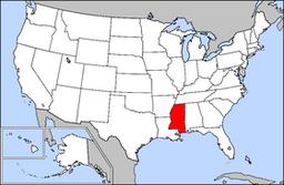 Kort over USA med Mississippi markeret