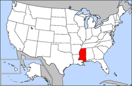 Map of the United States with Mississippi highlighted