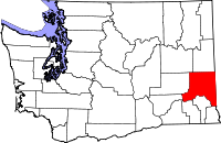 Map of Washington highlighting Whitman County