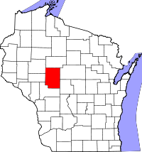 Map of Wisconsin highlighting Clark County