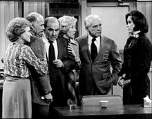 A scene from the final episode of The Mary Tyler Moore Show (from left): White, Gavin MacLeod, Ed Asner, Georgia Engel, Ted Knight, and Mary Tyler Moore