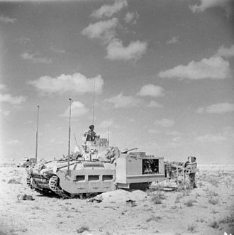 Mine flail - Matilda Scorpion Mk 1. The position of the flail operator is outside the tank.