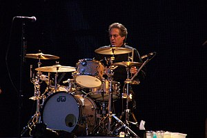 Max Weinberg - Weinberg performing in Valladolid, Spain on August 1, 2009, during one of the portions of the Working on a Dream Tour that he could attend.