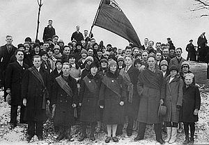 Young Communist League of Finland - Activists of the Helsinki Young Workers Study Circle, a SKNL front, photographed on May Day, 1927