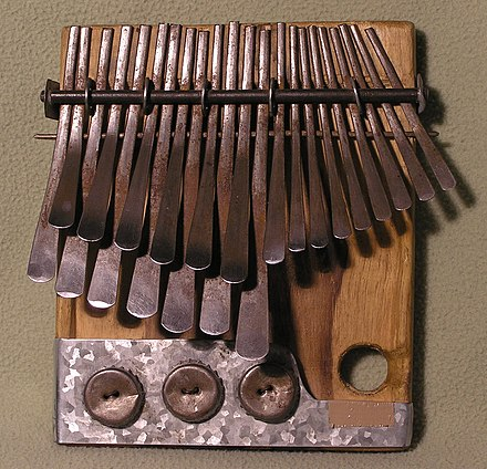The lamellophone thumb piano or mbira, a popular instrument in the African Great Lakes Mbira dzavadzimu.jpg