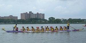 Hong Kong Dragon Boat Festival in New York - Paddling toward the start