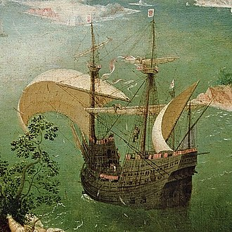Carrack - Painting of a carrack attributed to Pieter Bruegel the Elder, circa 1558