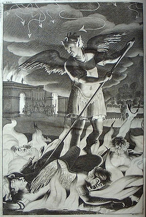 Book illustration - One of 12 illustrations in the 4th edition of Paradise Lost by John Milton, by John Baptist Medina, 1688