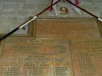 Francis Octavius Grenfell - Detail of the memorial showing the names of the Grenfell twins.