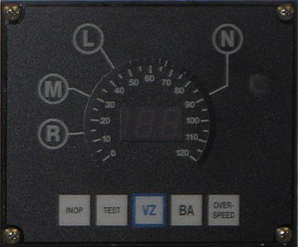 Cab signalling - CDU used on Metro-North is integrated with the speedometer indicating which speed limit applies for each signal.