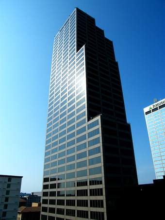 The Simmons Tower is the state's tallest building. Metropolitan Bank Tower.png
