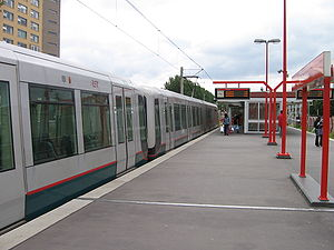 Rotterdam Metro - A series 5400 train, built by Bombardier, on the lightrail section at De Tochten station.