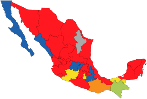 Citizens' Movement (Mexico) - Image: Mexico Governors Map 1 March 2013