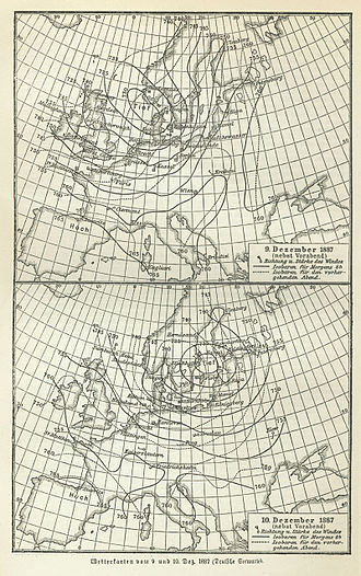 Weather forecasting - Weather map of Europe, December 10, 1887.